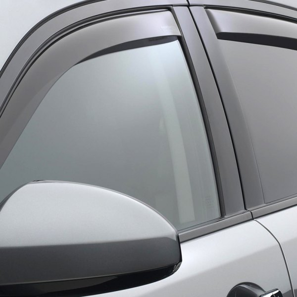 Image may not reflect your exact vehicle! WeatherTech® - In-Channel Light Smoke Front and Rear Window Deflectors