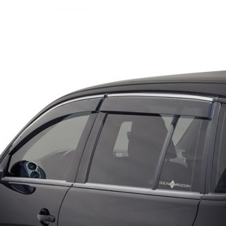 WELLvisors® - Tape-On Smoke Front and Rear Side Window Deflectors with Chrome Trim