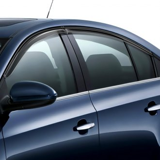WELLvisors® - Tape-On Style 2 Smoke Front and Rear Side Window Deflectors with Black Trim