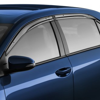 WELLvisors® - Tape-On Aerodyn Series Smoke Front and Rear Side Window Deflectors with Black Trim