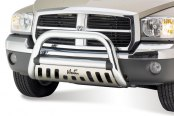 "Westin® - 3"" Ultimate Chrome Bull Bar with Polished Skid Plate Installed"