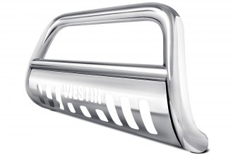 "Image may not reflect your exact vehicle!Westin® - 3"" E-Series Polished Bull Bar with Skid Plate"