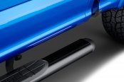 "Image may not reflect your exact vehicle! Westin® - 4"" Black Oval Tube Step Bars Installed"