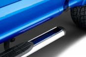 "Image may not reflect your exact vehicle! Westin® - 4"" Premier Polished Oval Tube Step Bars Installed"