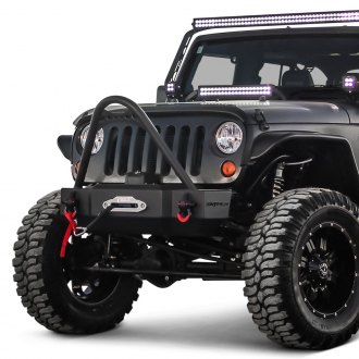 Westin® - Snyper™ Stubby Black Front Winch HD Bumper with Stinger
