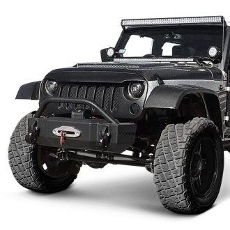 Westin® - Snyper™ Stubby Black Front Winch HD Bumper with Bull Bar