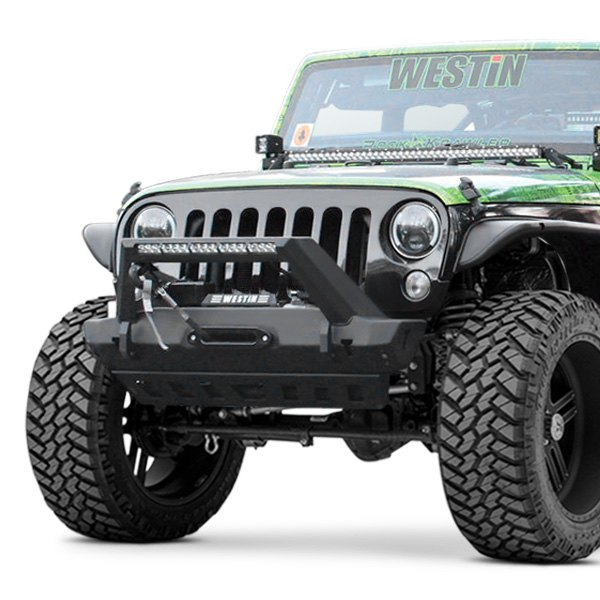 Westin Wj2 Stubby Black Front Winch Hd Bumper With Led Light Bar Mount