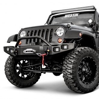 Westin® - Snyper™ Full Width Black Front Winch HD Bumper with Bull Bar