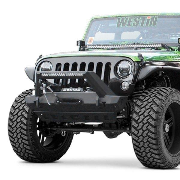 Westin wj2 stubby black front winch hd bumper with led light bar westin wj2 stubby front hd black bumper aloadofball Image collections