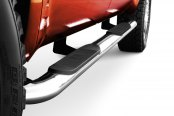 "Image may not reflect your exact vehicle! Westin® - 4"" Platinum Cab Length Polished Oval Tube Step Bars Installed"