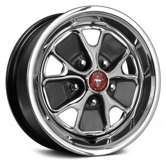 WHEEL VINTIQUES® - FORD STYLE STEEL Black with Chrome Center and Charcoal Silver Windows