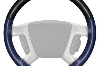Wheelskins® - EuroTone Two-Color Black Steering Wheel Cover with Blue Side Color
