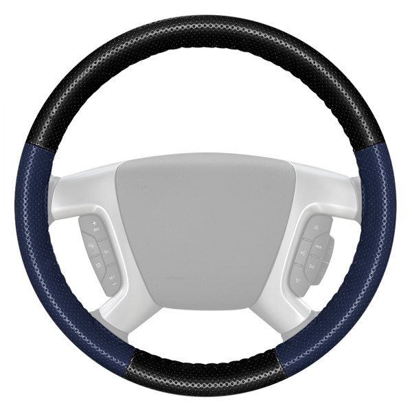 Wheelskins® - EuroPerf Perforated Black Steering Wheel Cover with Blue Side Color