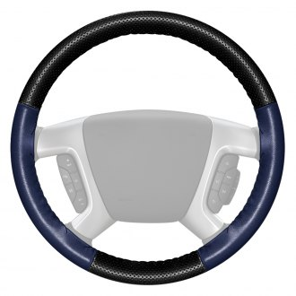Wheelskins® - EuroPerf Perforated Black Steering Wheel Cover with Blue Sides Color