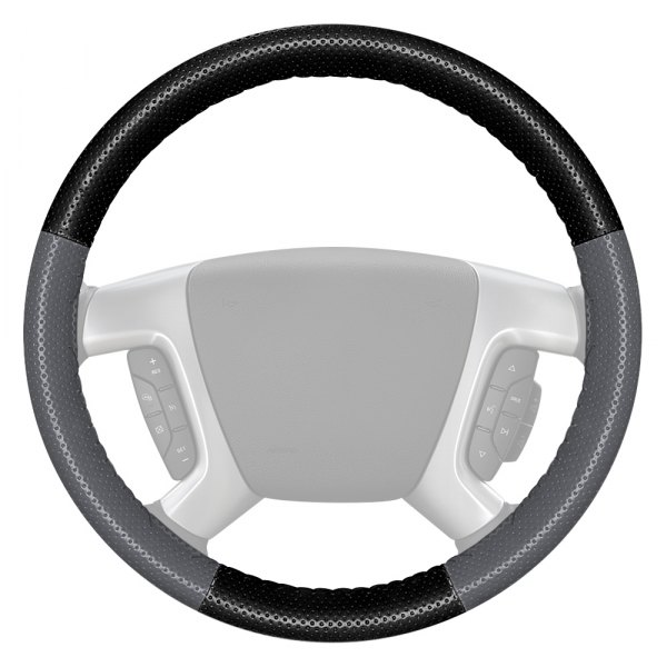 Wheelskins® - EuroPerf Perforated Black Steering Wheel Cover with Gray Sides Color