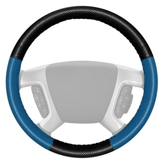 Wheelskins® - EuroPerf Perforated Black Steering Wheel Cover with Sea Blue Sides Color