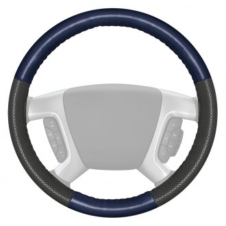Wheelskins® - EuroPerf Perforated Blue Steering Wheel Cover with Charcoal Sides Color