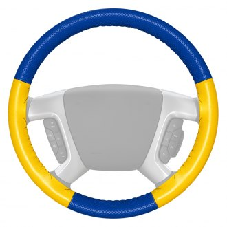 Wheelskins® - EuroPerf Perforated Cobalt Steering Wheel Cover with Yellow Sides Color