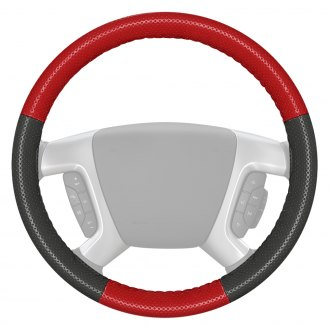 Wheelskins® - EuroPerf Perforated Red Steering Wheel Cover with Charcoal Sides Color