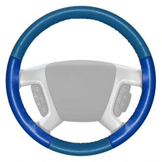Wheelskins® - EuroPerf Perforated Sea Blue Steering Wheel Cover with Cobalt Sides Color