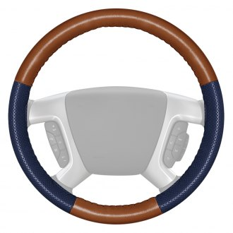 Wheelskins® - EuroPerf Perforated Tan Steering Wheel Cover with Blue Sides Color