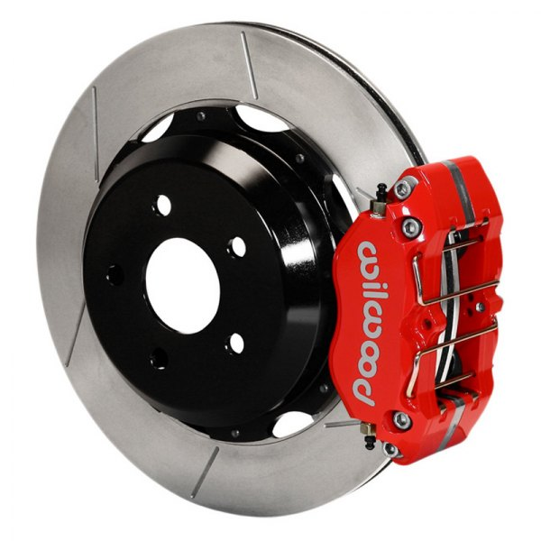 Wilwood® - Dynapro Rear Brake Kit For OE Parking Brake with Red Powder Coated Calipers