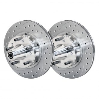 Wilwood® - SRP Drilled and Slotted Vented 2-Piece Front 30 Straight Vane Rotor Hub Kit