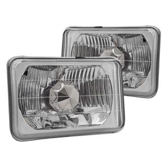 "Winjet® - 4x6"" Rectangular Chrome Euro Headlights"