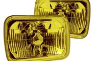 "Winjet® - 7"" Rectangular Yellow Euro Conversion Headlight"