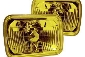 "Winjet® - 7x6"" Rectangular Yellow Euro Headlights"