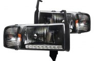 Winjet® - Black LED Headlights with Clear Lenses