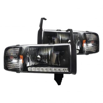 Winjet® - Black Euro Headlights with LED DRL