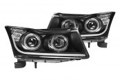 Winjet® - Black Projector Headlights with Daytime Running Lights