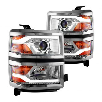 Winjet® - Chrome LED DRL Bar Projector Headlights