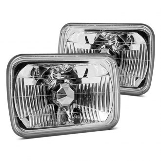 "Winjet® - 7x6"" Rectangular Chrome Euro Headlights"