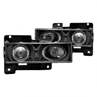Winjet® - Black Halo Projector Headlights with Parking LEDs