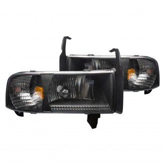 Winjet® - Black Euro Headlights with Parking LEDs