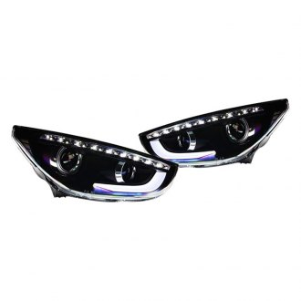 Winjet® - Black DRL Bar Projector Headlights with LED Turn Signal
