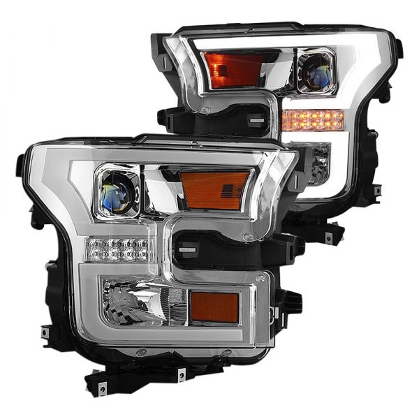 Winjet® - Chrome U-Bar Projector Headlights with LED Turn Signal