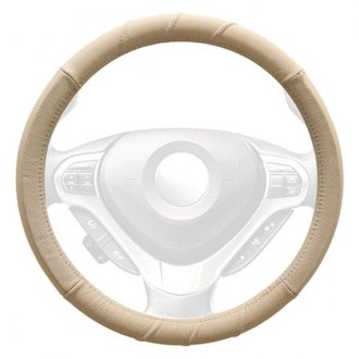 WINJET® - Beige Genuine Leather Steering Wheel Cover with 3 Top Stitches