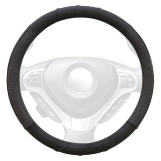 Winjet® - Black Genuine Leather Steering Wheel Cover with 3 Top Stitches