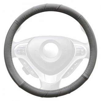 Winjet® - Gray Genuine Leather Steering Wheel Cover with 3 Top Stitches