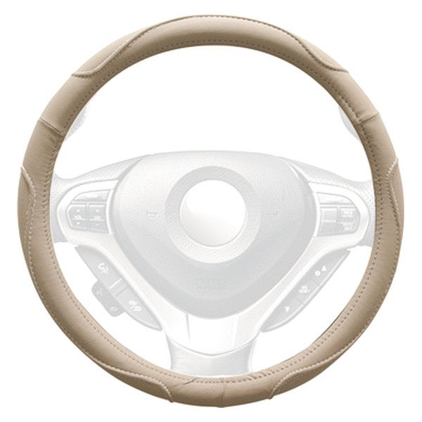 Winjet® - Beige Faux Leather Steering Wheel Cover with Multi Curve Pattern