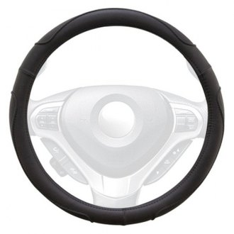 Winjet® - Black Faux Leather Steering Wheel Cover with Multi Curve Pattern