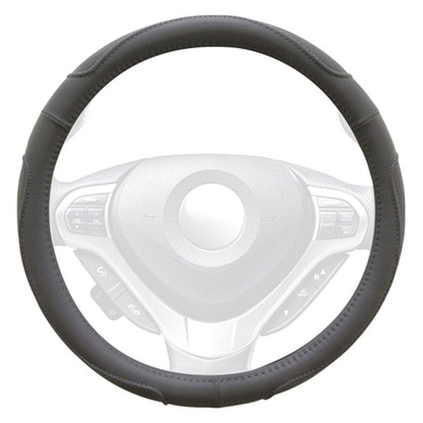 Winjet® - Gray Faux Leather Steering Wheel Cover with Multi Curve Pattern