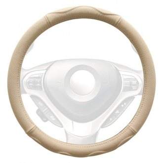 Winjet® - Genuine Leather Steering Wheel Cover with Top And Bottom Curve Pattern