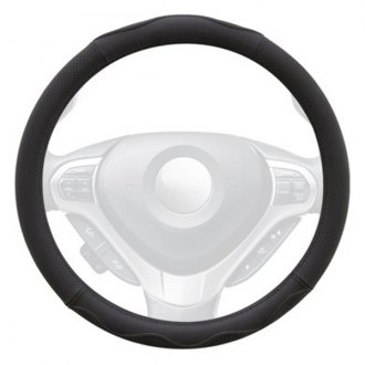 Winjet® - Black Genuine Leather Steering Wheel Cover with Top And Bottom Curve Pattern
