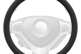 Winjet® WJ00-A001-BK - Black Genuine Leather Steering Wheel Cover with Top And Bottom Curve Pattern
