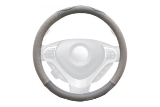 WINJET® - Gray Genuine Leather Steering Wheel Cover with Top And Bottom Curve Pattern