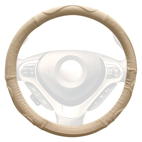 Winjet® - Beige Genuine Leather Steering Wheel Cover with Top And Side Curve Pattern